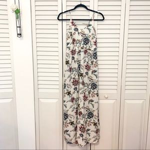 White, silky maxi dress, floral pattern from loft